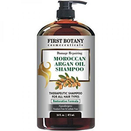 Moroccan Argan Oil Shampoo with Restorative Formula 16 fl. oz. Gentle & Sulfate Free for All Hair Types. Cleanses, Revives, Hydrates, Detangles Hair & Revitalizes the Scalp &