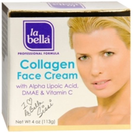 La Bella Collagen Face Cream with Alpha Lipoic Acid [Crema De Colageno] 4 oz (Pack of
