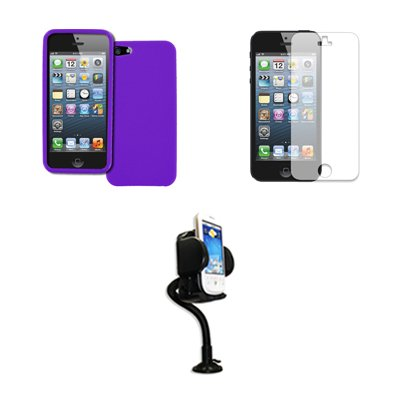 EMPIRE Apple iPhone SE / 5S / 5 Purple Case Textured Poly Skin + Adjustable Car Dashboard Mount + Invisible Screen Protector
