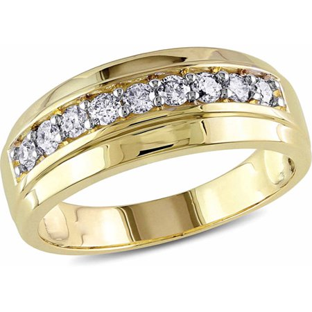 1/2 Carat T.W. Diamond 10kt Yellow Gold Men's Wedding (Mens 18 Carat White Gold Wedding Rings)