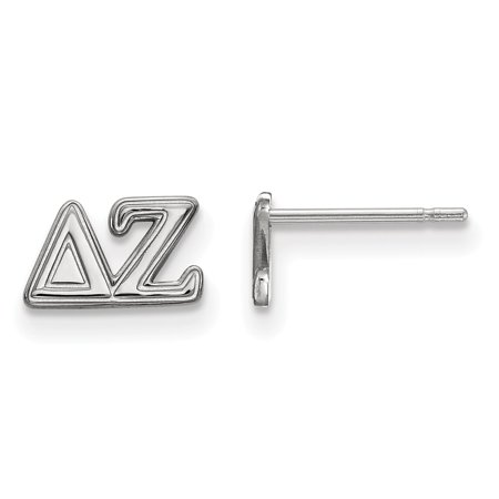 White Sterling Silver Earring Women'S Greek Delta Zeta 5 mm 9