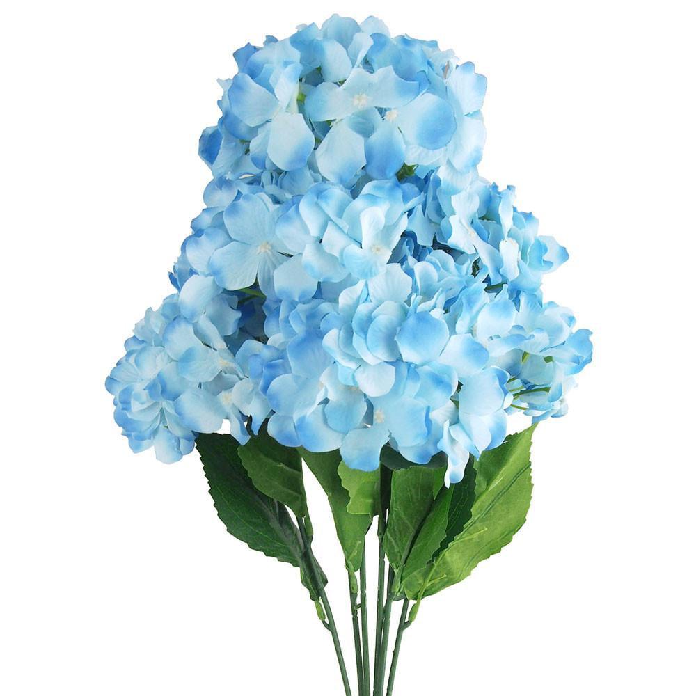 Artificial Silk Hydrangea Bouquet Flowers, 22-Inch, Blue