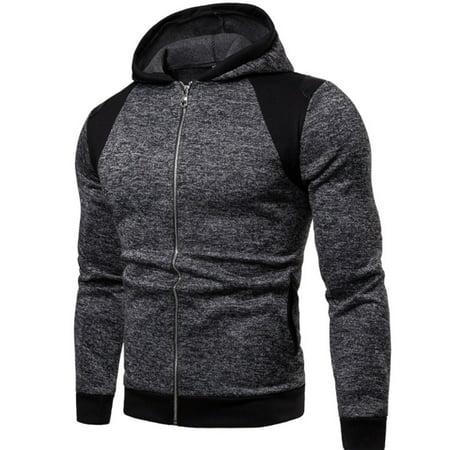 Semi Dry Mens Jumpsuit - Mens Casual Hooded Jacket Winter New Fashion Fleece Lined Fluffy Full Zipper Jumpsuit Hooded Jacket