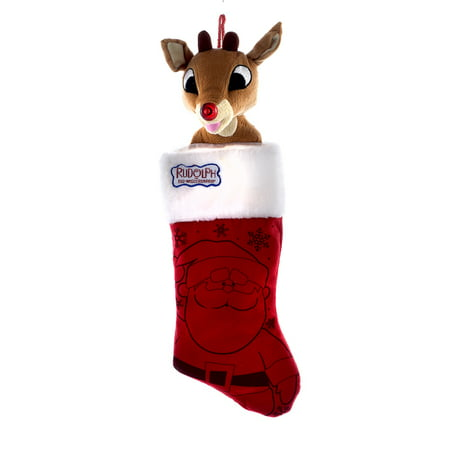 Rudolph the Red Nose Reindeer Plush Head Stocking - Rudolph Stocking