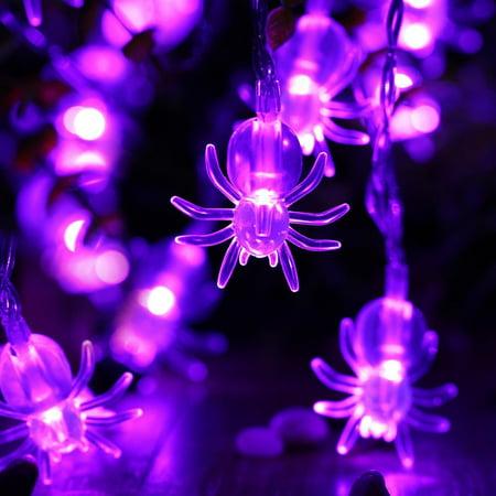 Qedertek 2 Pack Purple Spider String Lights 20 Led 9 51ft Battery Operated For Party Decor Decoration