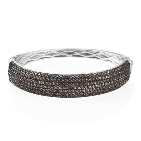 - 925 Sterling Silver Platinum Plated Smoky Quartz Bridal Bangle Cuff Bracelet Gift for Women 7.25