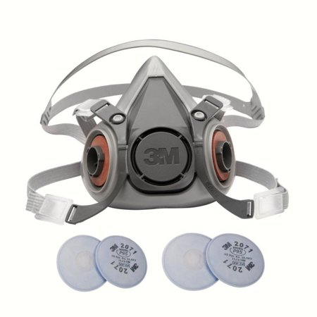 - 3M 6000 Series Respirator Medium Half Mask Facepiece with Adjustable Straps Size Medium 6200 with 2 Pairs of 3M 2071 Filters