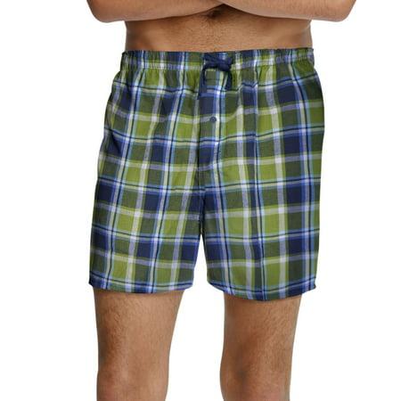 Hanes Men`s Woven Plaid 2-Pack Shorts, 2002/2002X, 4XL, Green and Blue Plaid](Plaid Madras Shorts)