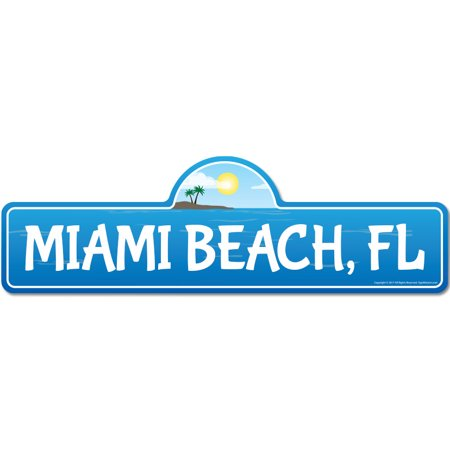 Miami, FL Florida Beach Street Sign | Indoor/Outdoor | Surfer, Ocean Lover, Décor For Beach House, Garages, Living Rooms, Bedroom | Signmission Personalized Gift