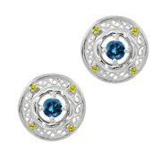 0.60 Ct Round Blue Diamond Canary Diamond 925 Sterling Silver Earrings