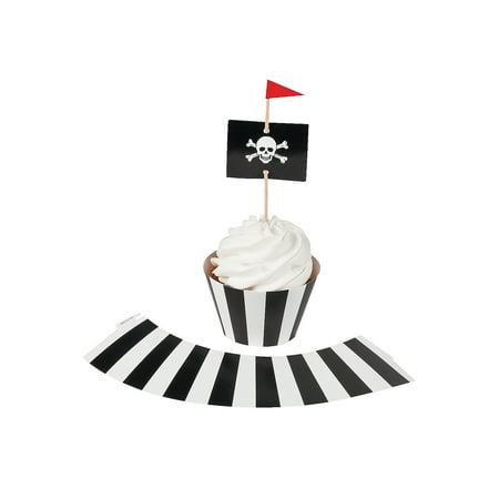 Fun Express - Pirate Party Cupcake Collars W/ Picks for Birthday - Party Supplies - Serveware & Barware - Picks & Stirrers & Parasols - Birthday - 100 (Party Parasol Picks)