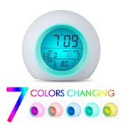 TSV Kids Alarm Clock, Children's Sleep Trainer, Sleep Sound Machine, Wake Up Light & LED Night Light with 7 Color Changing, 7 Ringing Tones & Touch Control, with Temperature Time Date Calendar