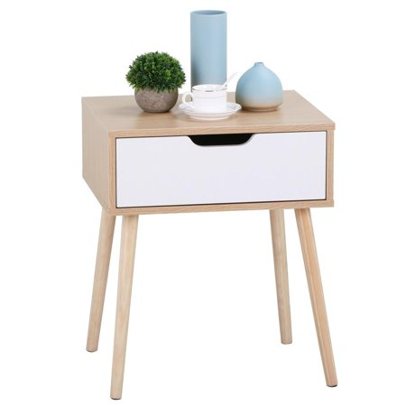 White/Brown Walnut Side End Table Nightstand with Storage Drawer Solid Wood Legs Living Room Furniture 2 Drawer Glass Nightstand