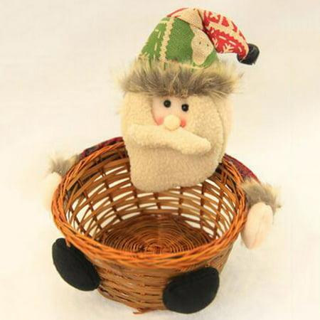 Visland Christmas Santa Reindeer Wooden Candy Basket Storage Container Desktop Ornament - image 2 de 7