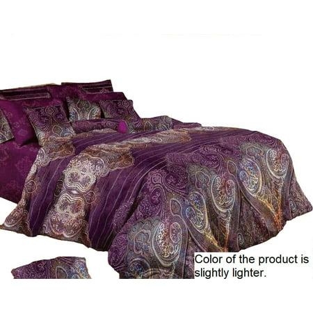 Swanson Beddings Purple Paisley 3-Piece Duvet Bedding Set: Duvet Cover and Two Pillow Shams (Queen) ()