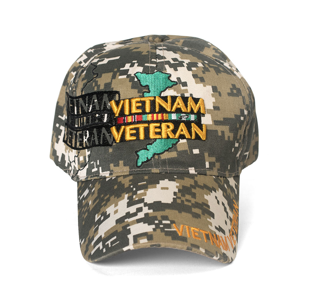 Vietnam Veteran Island Outline Shadow Digital Camo Adjustable Cap