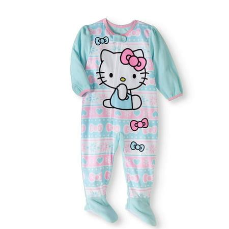 bf660135bee7 Hello Kitty - Newborn Baby Girls  Micro Fleece Footed Pajama ...