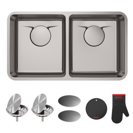 10 Undermount Kitchen Sink (KRAUS Dex™ 33-Inch Undermount 50/50 Double Bowl T304Plus TRU16 Gauge Stainless Steel Kitchen Sink with DrainAssure WaterWay and VersiDrain Assembly in Radiant Pearl Finish )