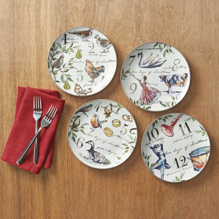 better homes and gardens 12 days of christmas salad plate 4 pack