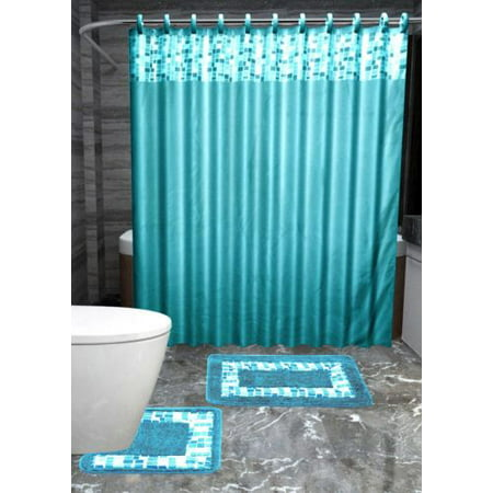 15pc TURQUOISE MOSAIC Bathroom Set Printed Banded Rubber Backing Rug ...