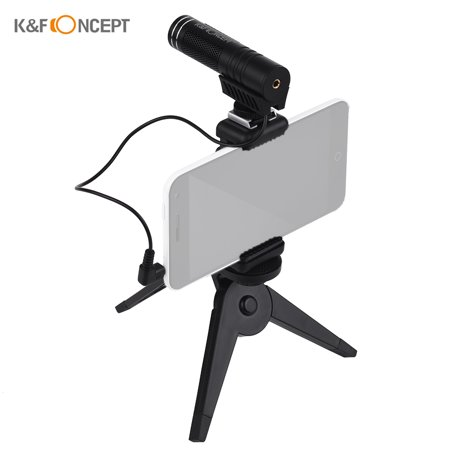 K&F Concept Cellphone Microphone Cardioid Directional External Podcasting Video Condenser Mobile Microphone with 3.5mm Audio Jack NCR Noise Reduction Hands Free for 5.8cm-8.4cm Width Smartphone Cardioid Condenser Mic System