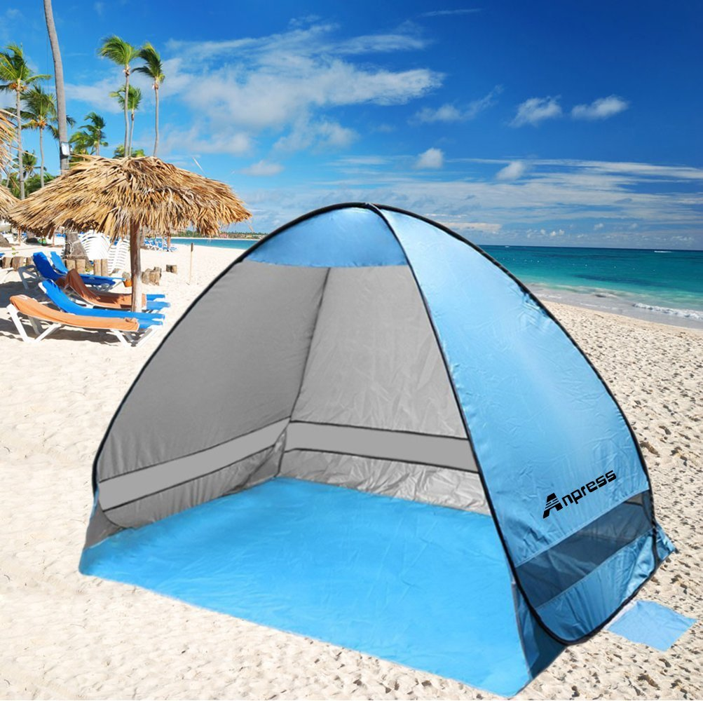 Anpress Outdoor Automatic Pop up Beach Tent Portable Cabana Anti UV 50+ Canopy Sun Shade Sport Shelter Sun Shelter for Family Kids Baby Outdoor Camping Fishing Picnic Hiking