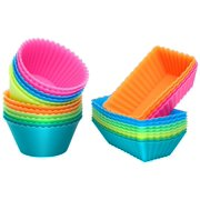 IPOW Mini Silicone Muffin Baking Molds Cups Reusable Cupcake Tin Liners Bulk for Baking, Freezing, Broiling & Preservation, 24 Pack, Rainbow Color