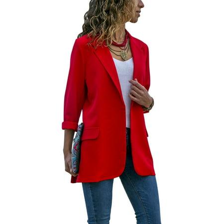 Fashion Women Long Sleeve Lapel Cardigan Jacket Casual Blazer Suit Top Jacket Coat (Mod Suit Jacket)
