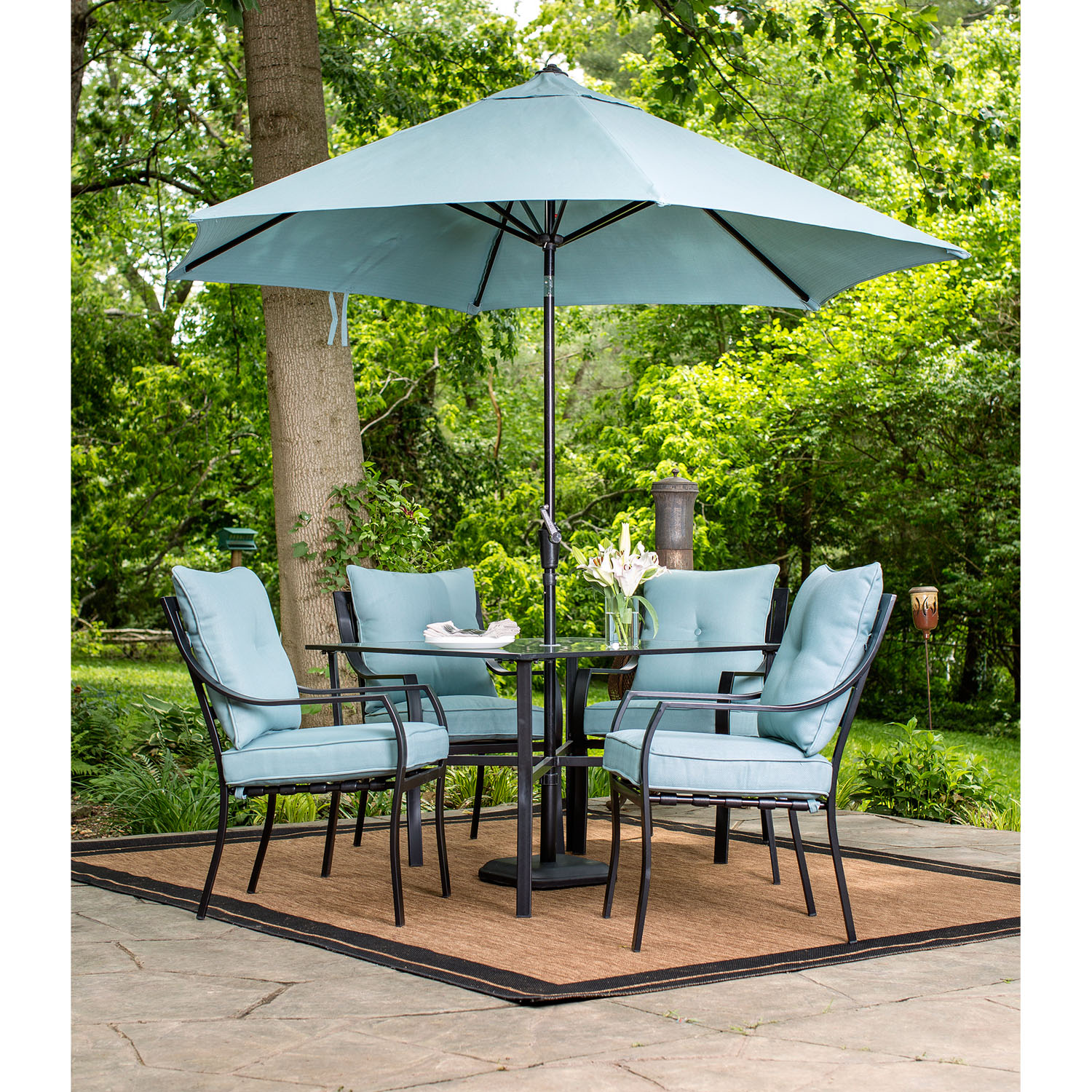 Hanover Lavallette 5-Piece Outdoor Dining Set and Table Umbrella with Stand