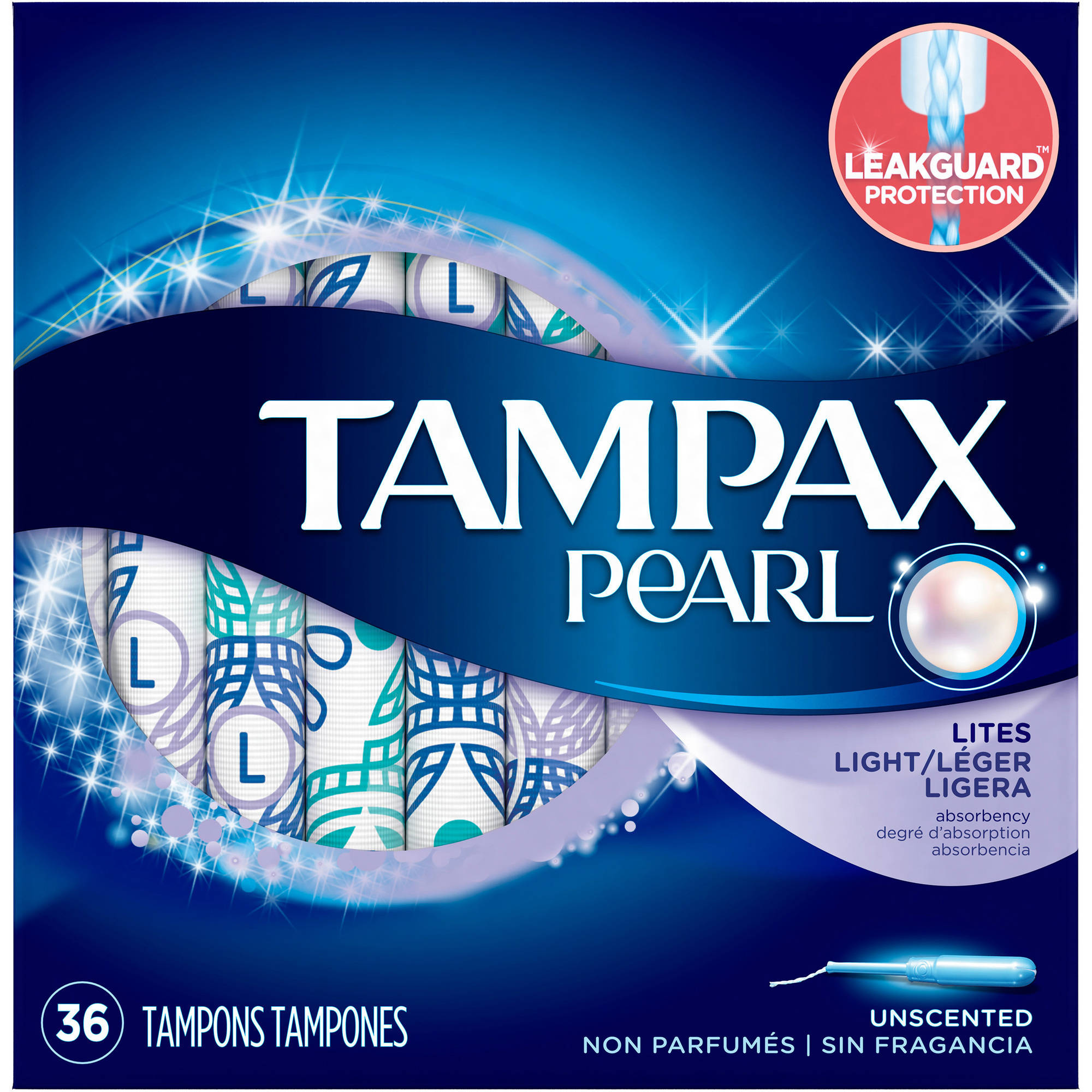 Tampax Pearl Plastic Light Absorbency Unscented Tampons, 36 count