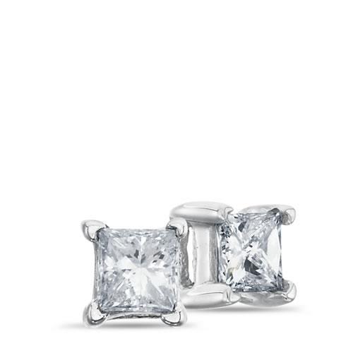 14K White Gold, Princess Cut Solitaire Earrings, 1/5 ctw.