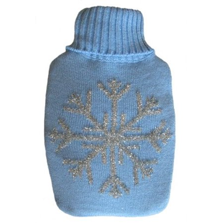 - Warm Tradition Silver Snowflake Knit Covered Hot Water Bottle - Bottle made in Germany