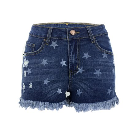Womens High Waisted Ripped Summer Casual  Star Print Tassel Distressed Denim Jeans Shorts Hot Pants Distressed Denim Jean Shorts