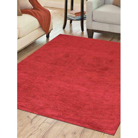 Rugsotic Carpets Hand Knotted Gabbeh Silk 6'x6' Square Area Rug Solid Red