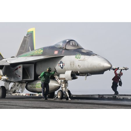 An Fa 18 Super Hornet Is Ready To Launch From A Catapult Aboard Uss Harry S Truman Poster Print
