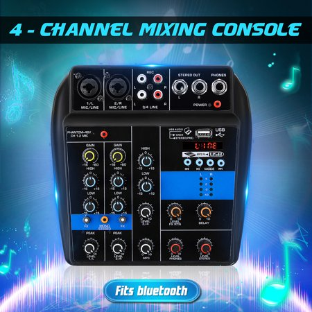 110V General Purpose Mini Premium Audio Mixing Console Audio Mixer Amplifier Amp USB 4-Channels Studio Mixer Board Phantom