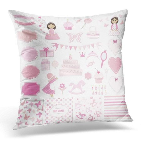 Pastel Princess (ARHOME Princess Birthday Party and Girl Design Frames Stickers Patterns Pastel Pink Colors White Baby Pillow Case Pillow Cover 20x20)