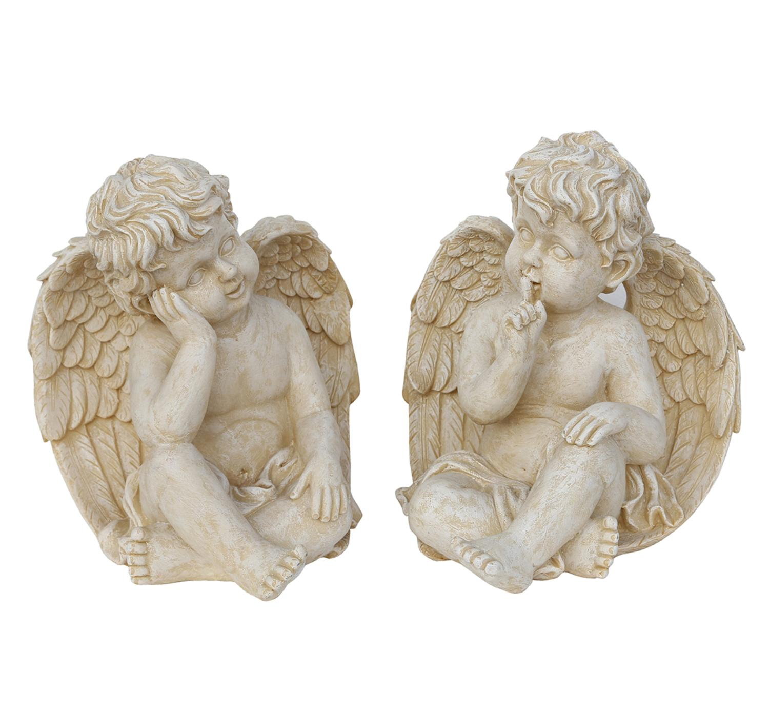 "Set of 2 Weathered Stone Pensive Sitting Cherub Angel Outdoor Garden Statues 13"" by Northlight"