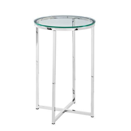 16 Mid Century Modern X Base Side Table Glass Chrome