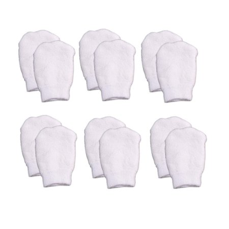 - White Newborn No Scratch Cotton Baby Mittens by Nurses Choice (Includes 6 Pairs Mittens)