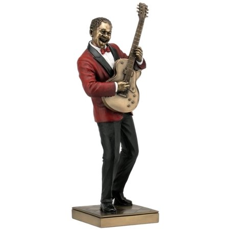 - 12.75 Inch Guitar Player Cold Cast Decorative Figurine, Bronze Color