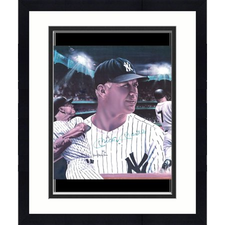 (Framed Mickey Mantle New York Yankees Autographed 16