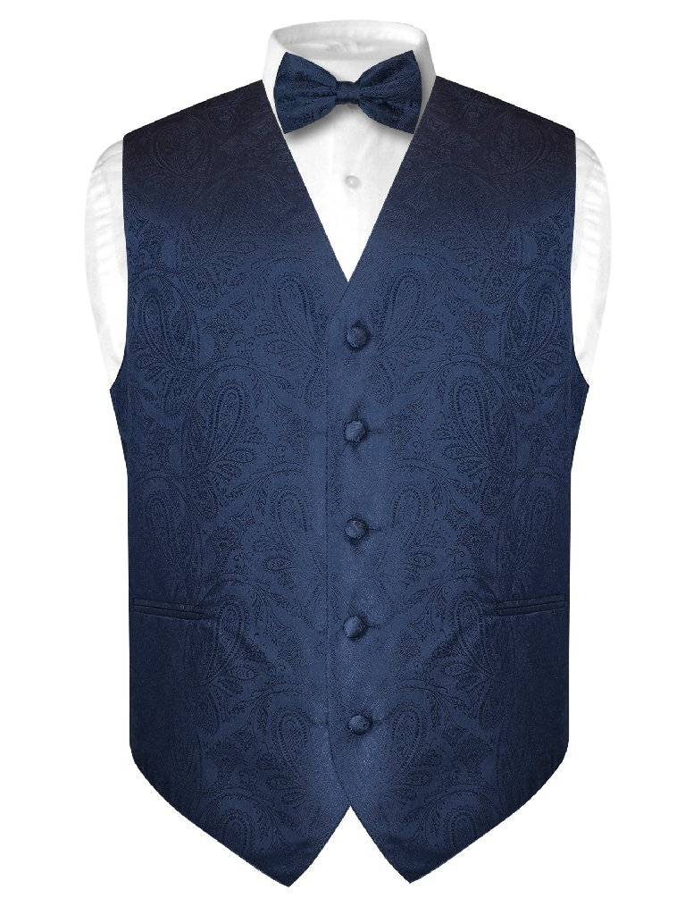 Men's Paisley Design Dress Vest & Bow Tie NAVY BLUE Color BOWTie Set