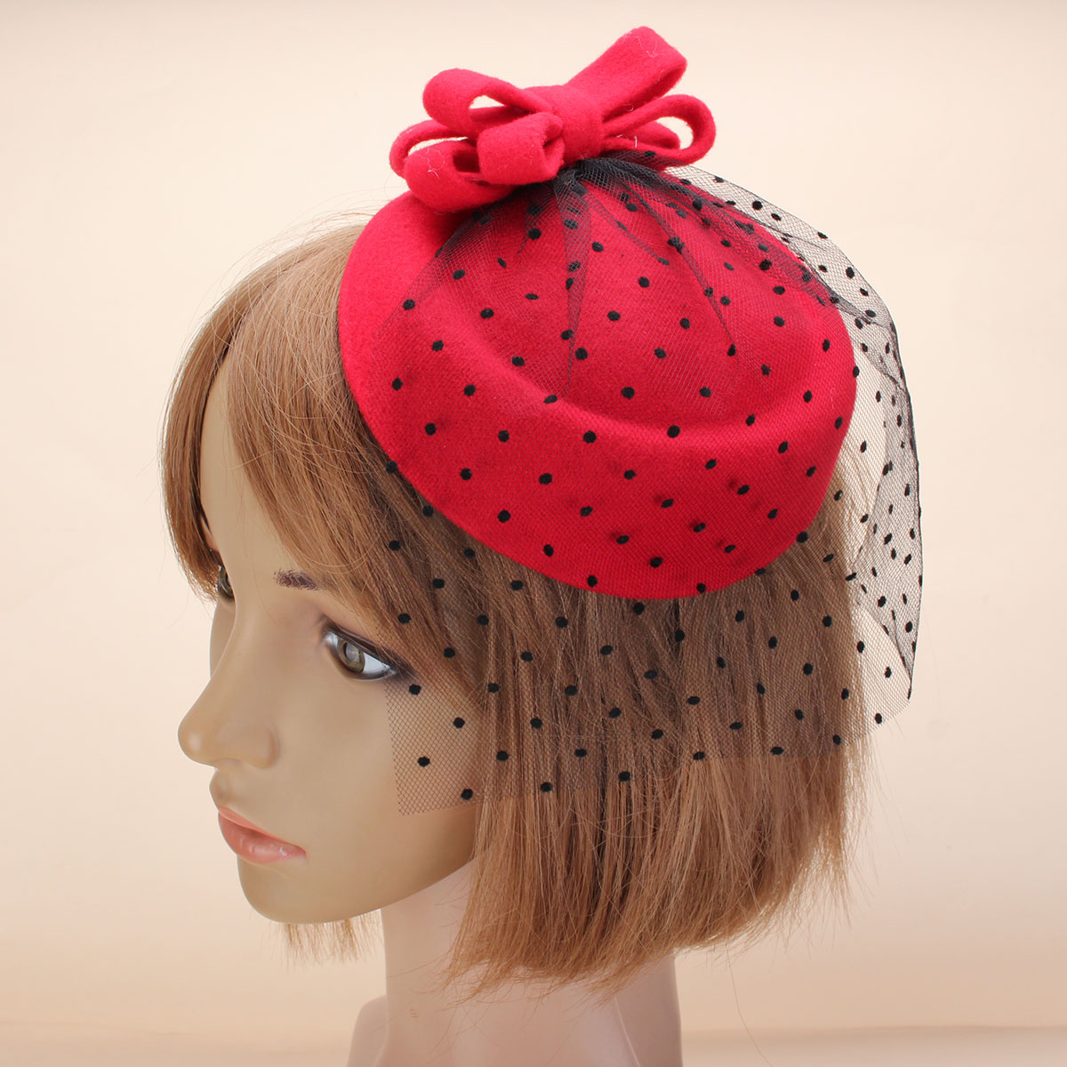 Women Fascinator Pillbox Felt Hat Hair Clip Formal Dress Bowknot Veil White