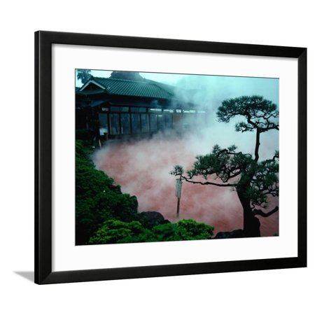 Hot Stem (Steam Rising from Hot Spring and Baths (Or Jigoku Meaning Hells), Beppu, Kyushu, Japan Framed Print Wall Art By Tony Wheeler )