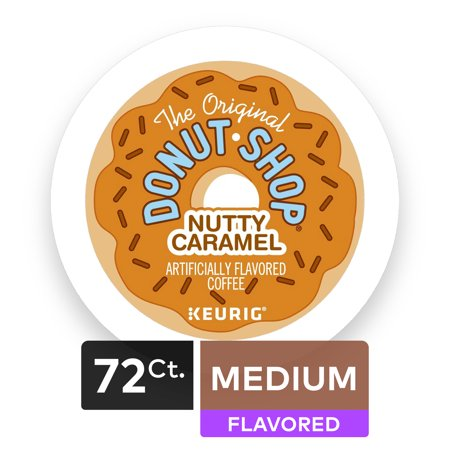 (4 Pack) The Original Donut Shop Nutty Caramel, Flavored Coffee Keurig K-Cup Pods, Medium Roast, 18 Count