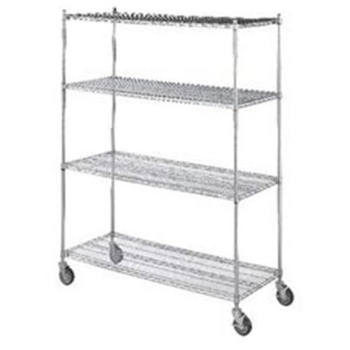 R&B Wire LC246072 24 inch x 60 inch x 72 inch Linen Cart with Four Wire Shelves
