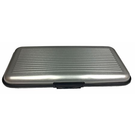 Data Wallet (Large Silver RFID Secure Credit Card Data Theft Protection Armored Wallet New )