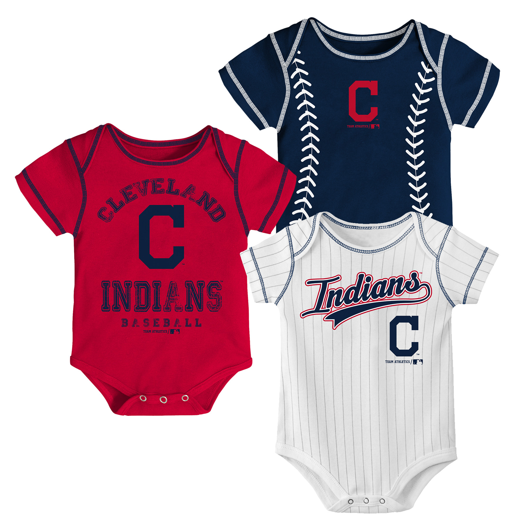 MLB Cleveland Indians Onesie Creeper BOY 3PK 100% Cotton ASSORTED Colors 0M-18M