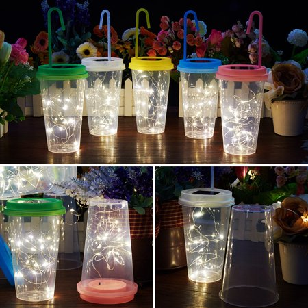 Drink Cup Solar String Light, Transparent Plastic Beverage Cup LED Light Waterproof Hanging Colorful Light 15 LED Garden, Party, Christmas, Halloween, Wedding (Warm Yellow) - Better Homes And Gardens Halloween Drinks